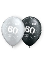 "11"" #60 Around Black & Silver Balloons Uninflated"