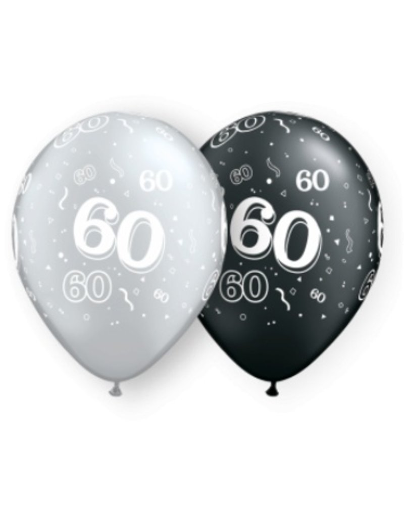 "11"" #60 Around Black & Silver Balloons (Without Helium)"