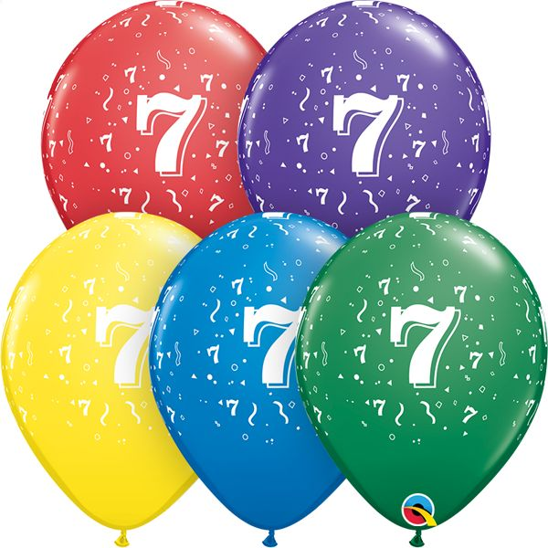 "11"" #7 Confetti Balloons Uninflated"