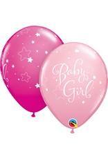 "11"" Baby Girl Stars Balloon Uninflated"