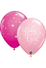 """11"""" Baby Girl Stars Balloon (Without Helium)"""