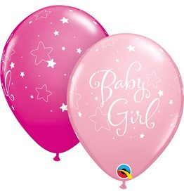 "11"" Baby Girl Stars Balloon (Without Helium)"