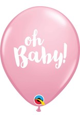 "11"" Oh Baby! Pink Balloon Uninflated"