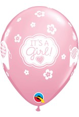 "11"" It's A Girl Elephants Balloon (Without Helium)"