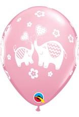 "11"" It's A Girl Elephants Balloon (Without Helium)"