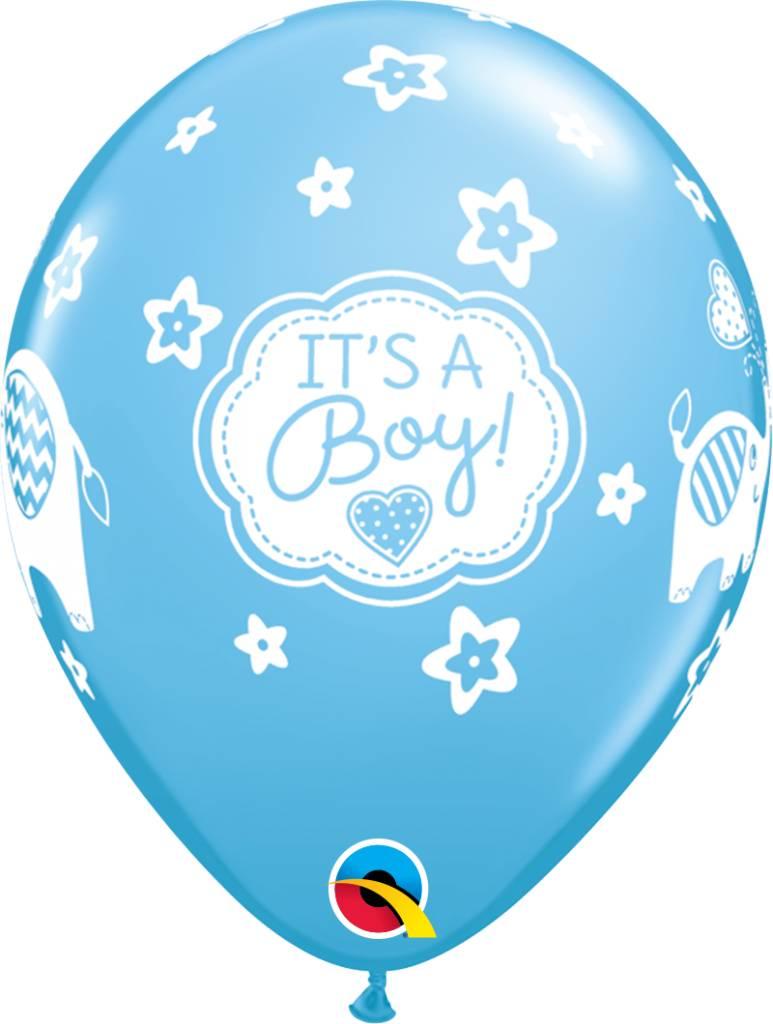 "11"" It's A Boy Elephants Balloon (Without Helium)"