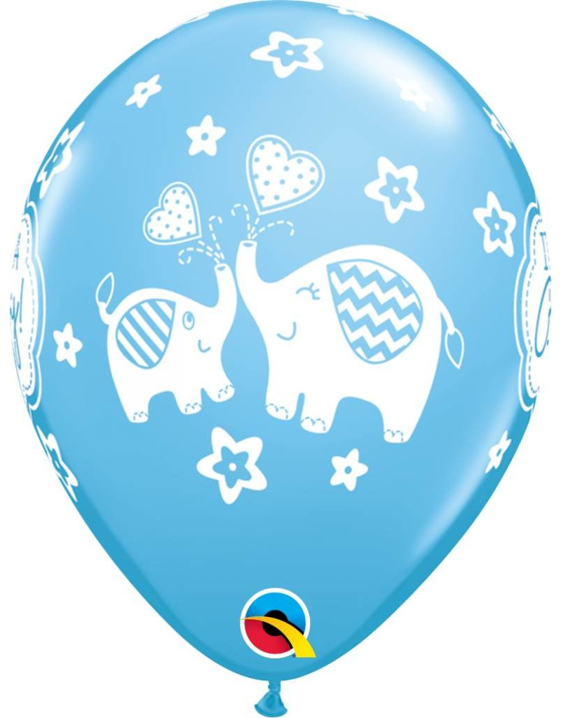 "11"" It's A Boy Elephants Balloon (Without Helium)"