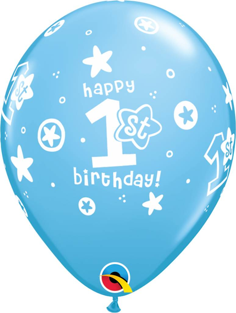 "11"" 1st Birthday Blue Circle Stars Balloons Uninflated"