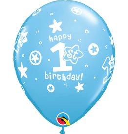 "11"" 1st Birthday Blue Circle Stars Balloons Uninflated"