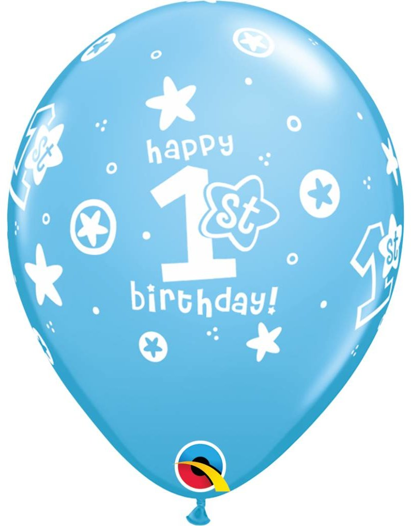 "11"" 1st Birthday Blue Circle Stars Balloons (Without Helium)"
