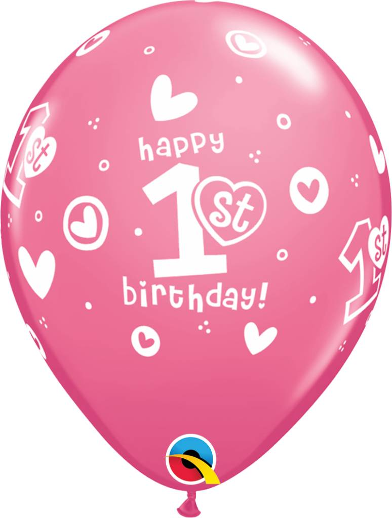 """11"""" 1st Birthday Girl Pink Balloons (Without Helium)"""