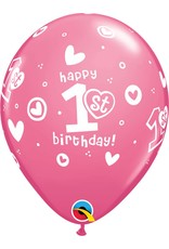 """11"""" 1st Birthday Girl Pink Balloons Uninflated"""