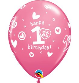 11 1st Birthday Girl Pink Balloons Uninflated