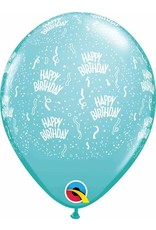 "11"" Birthday Around Caribbean Blue Balloons  Uninflated"