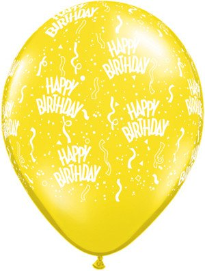 "11"" Birthday Around Citrine Yellow Balloons Uninflated"