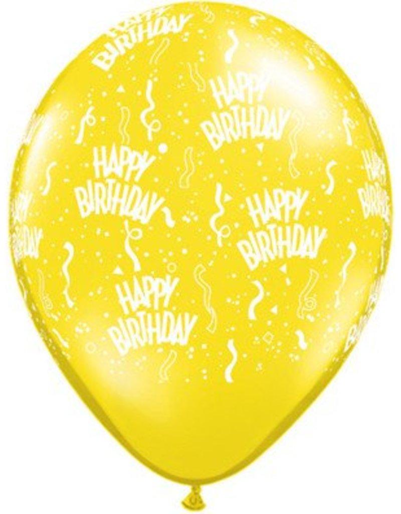 """11"""" Birthday Around Citrine Yellow Balloons (Without Helium)"""