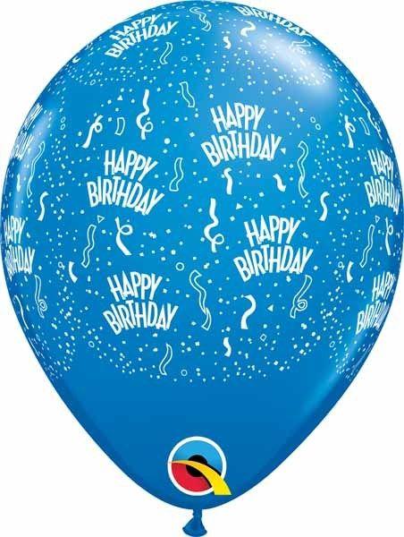 "11"" Birthday Around Dark Blue Balloons (Without Helium)"