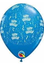 "11"" Birthday Around Dark Blue Balloons Uninflated"