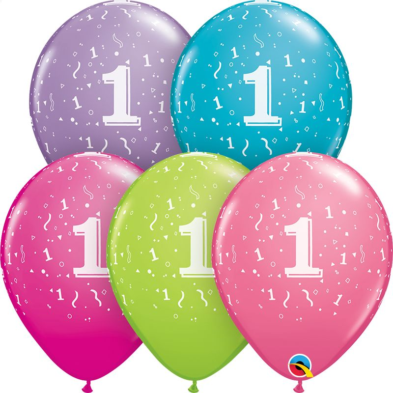 "11"" #1 Confetti Trendy Balloons Uninflated"