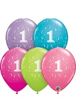 "11"" #1 Confetti Trendy Balloons (Without Helium)"