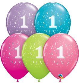 """11"""" #1 Confetti Trendy Balloons Uninflated"""