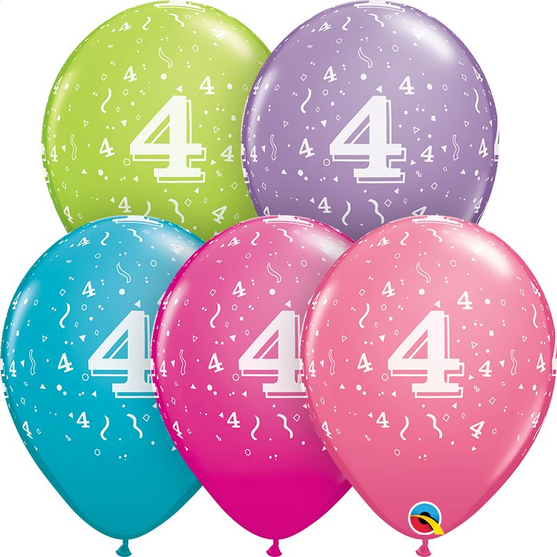 "11"" #4 Confetti Trendy Balloons Uninflated"