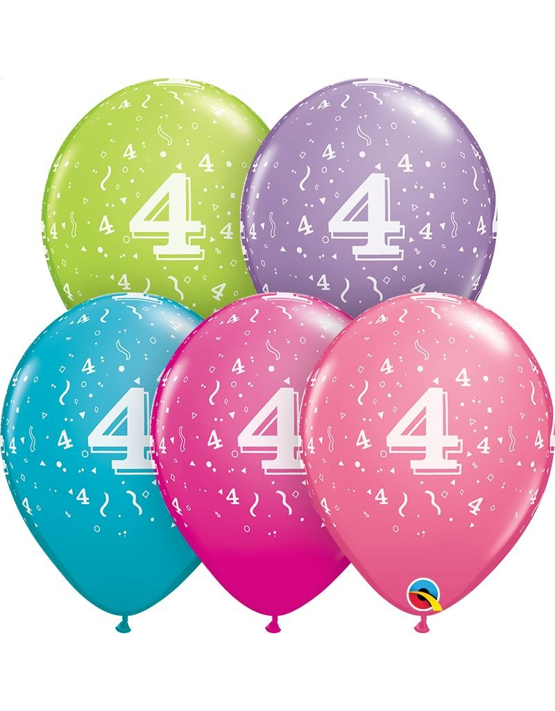 "11"" #4 Confetti Trendy Balloons (Without Helium)"