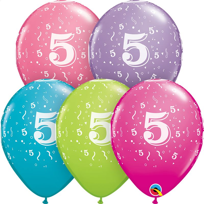 "11"" #5 Confetti Trendy Balloons (Without Helium)"