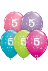 "11"" #5 Confetti Trendy Balloons Uninflated"