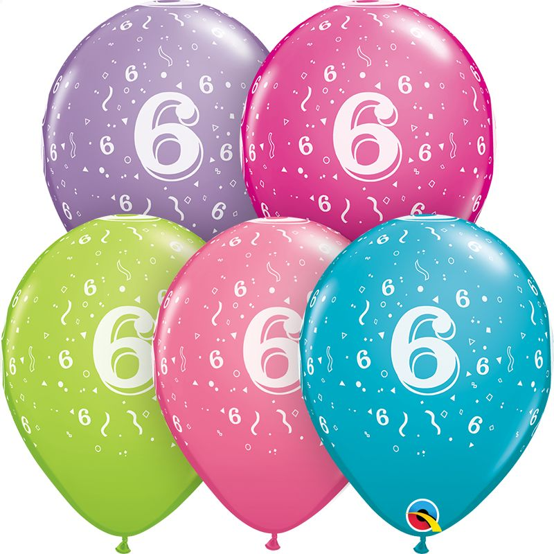 """11"""" #6 Confetti Trendy Balloons Uninflated"""