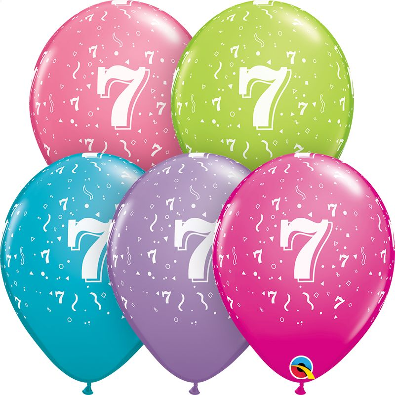 "11"" #7 Confetti Trendy Balloons Uninflated"