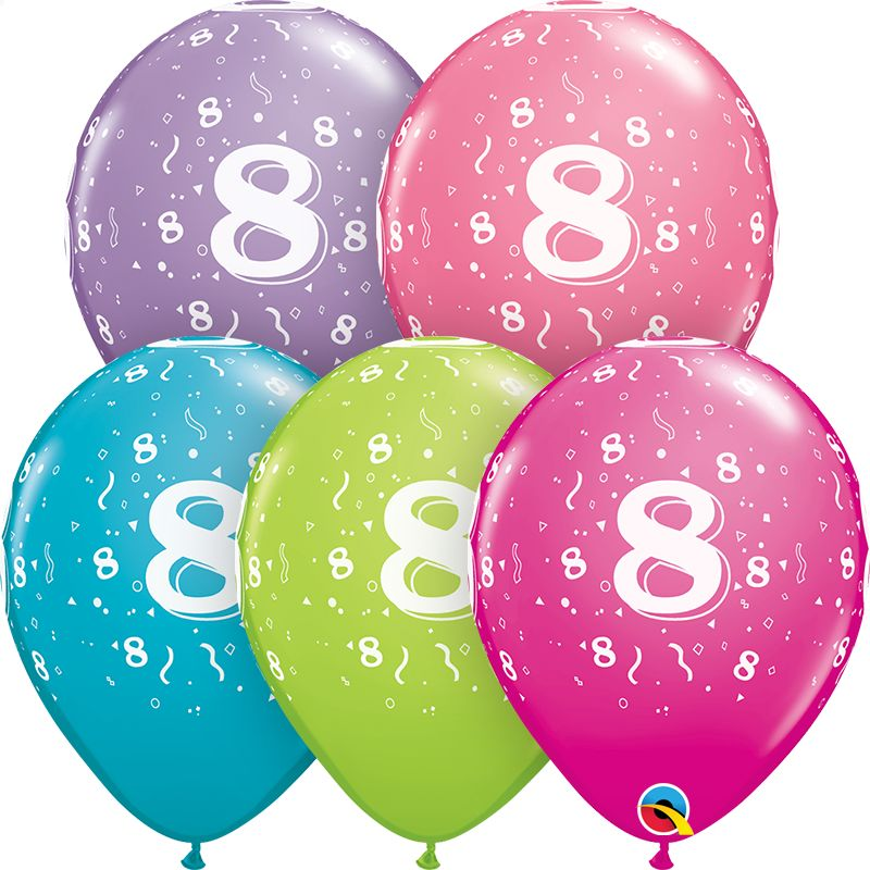 """11"""" #8 Confetti Trendy Balloons Uninflated"""