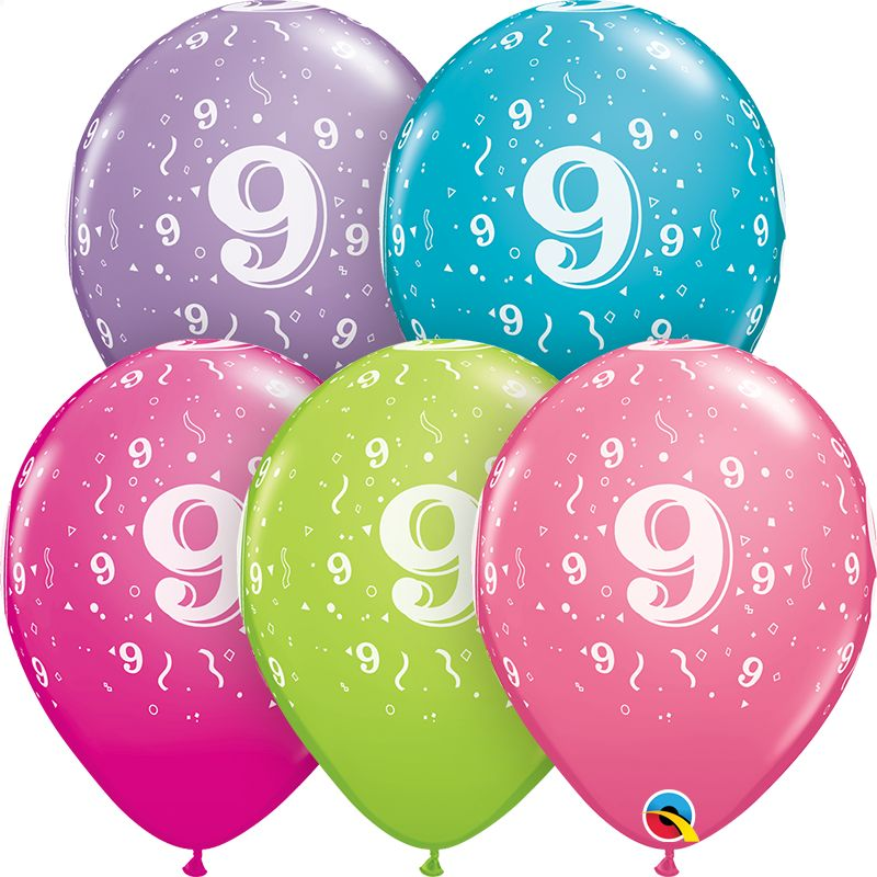 "11"" #9 Confetti Trendy Balloons (Without Helium)"