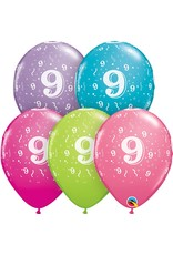 "11"" #9 Confetti Trendy Balloons Uninflated"