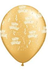 "11"" Birthday Around Gold Balloons Uninflated"