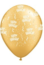 "11"" Birthday Around Gold Balloons (Without Helium)"