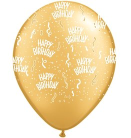 "11"" Birthday Around Gold Balloons Uninflated"