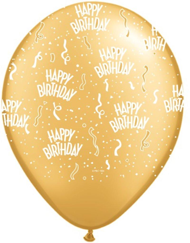 "11"" Birthday Around Gold Balloons (Without Helium)"