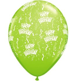 "11"" Birthday Around Lime Balloons Uninflated"