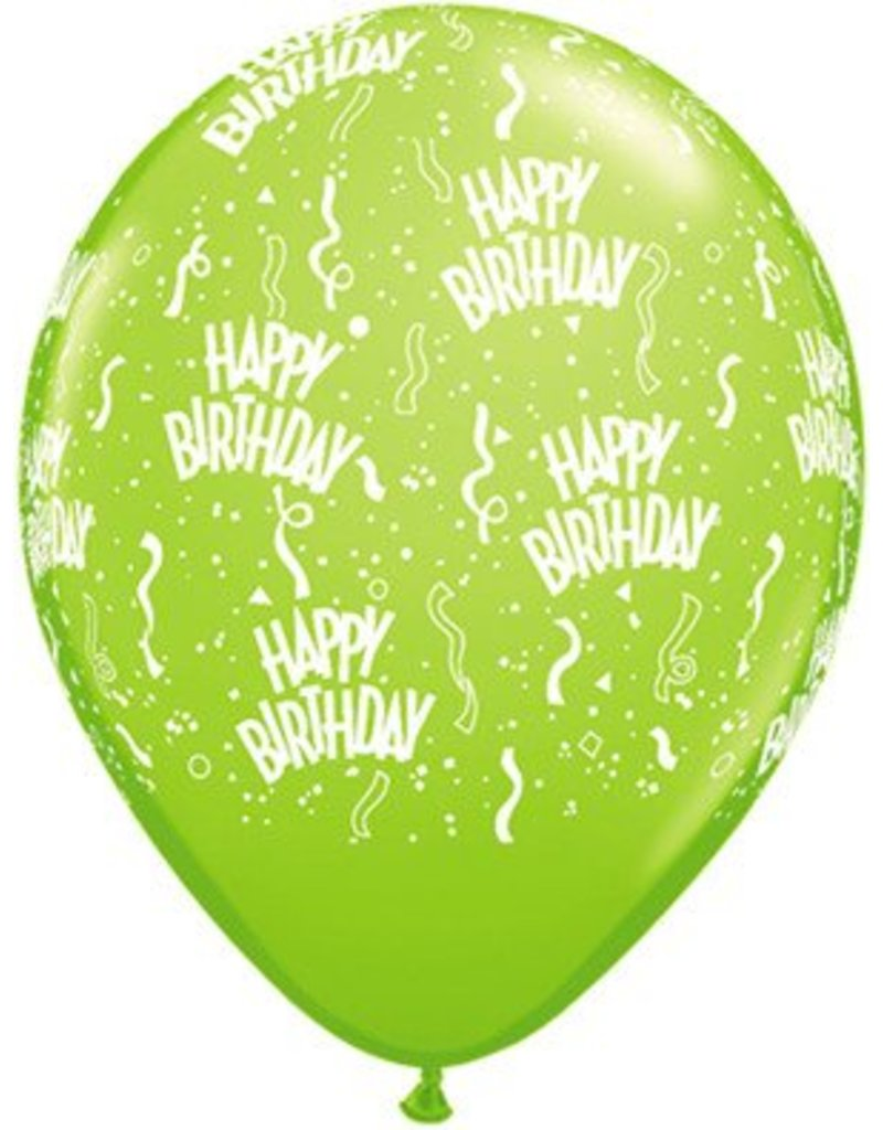 """11"""" Birthday Around Lime Balloons (Without Helium)"""