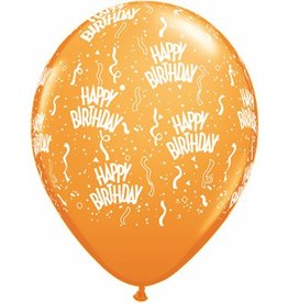 "11"" Birthday Around Mandarin Orange Balloons Uninflated"