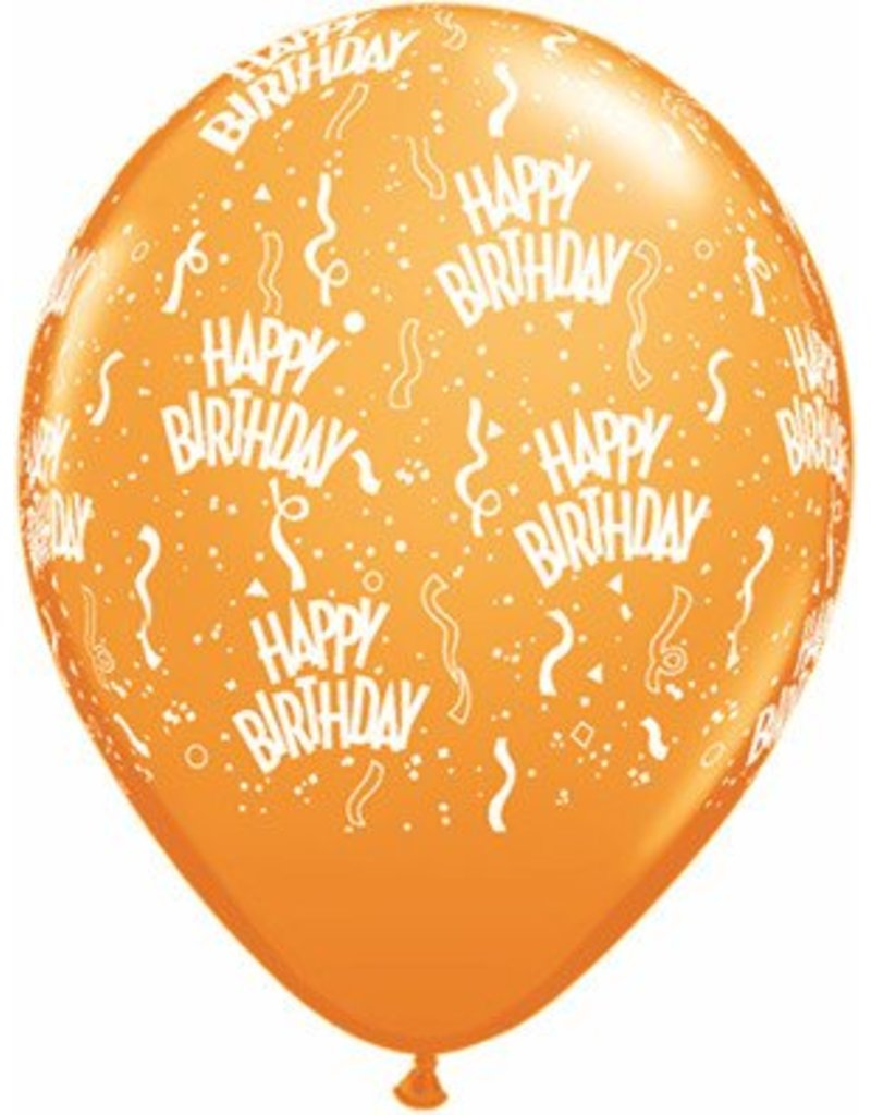 "11"" Birthday Around Mandarin Orange Balloons (Without Helium)"
