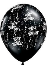 "11"" Birthday Around Onyx Black Balloons (Without Helium)"