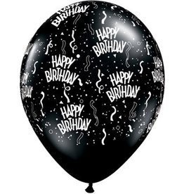 "11"" Birthday Around Onyx Black Balloons Uninflated"