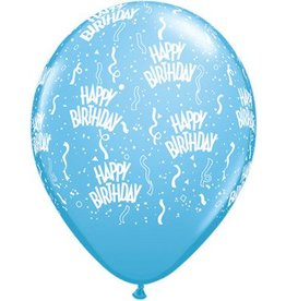 "11"" Birthday Around Pale Blue Balloons Uninflated"