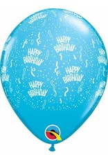 """11"""" Birthday Around Robin's Egg Blue Balloons (Without Helium)"""