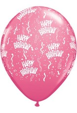 "11"" Birthday Around Rose Balloons (Without Helium)"
