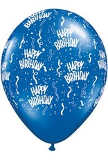 "11"" Birthday Around Sapphire Blue Balloons (Without Helium)"