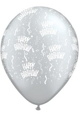 "11"" Birthday Around Silver Balloons (Without Helium)"