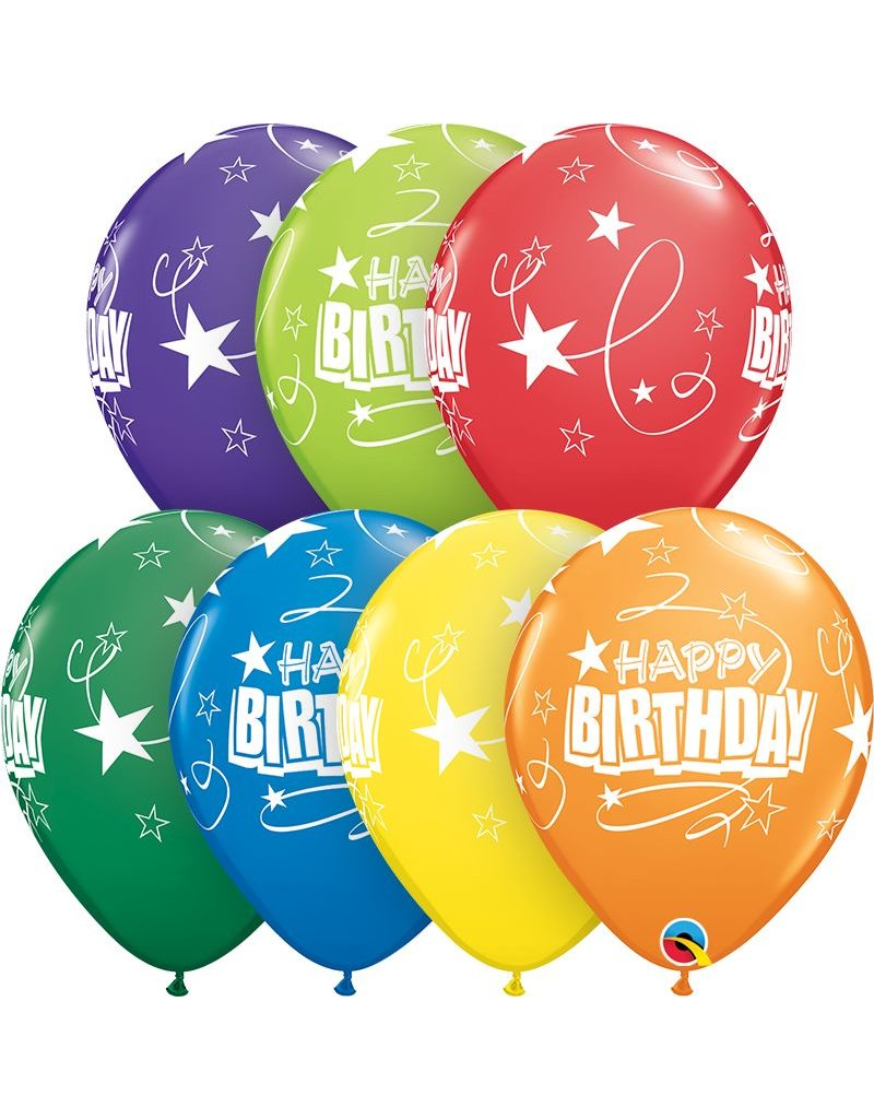 "11"" Birthday Carnival Loops & Stars Balloons (Without Helium)"